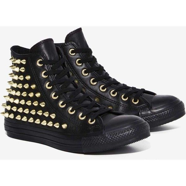 Converse All Star Studded Leather Sneaker ($125) ? liked on