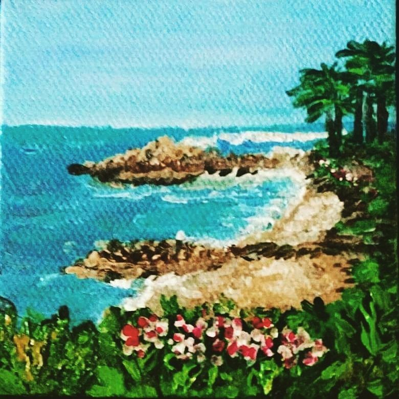 "1 Custom 3x3 Handpainted White Canvas Painting ""Laguna Beach"" View from the Montage. by Rondiart on Etsy"