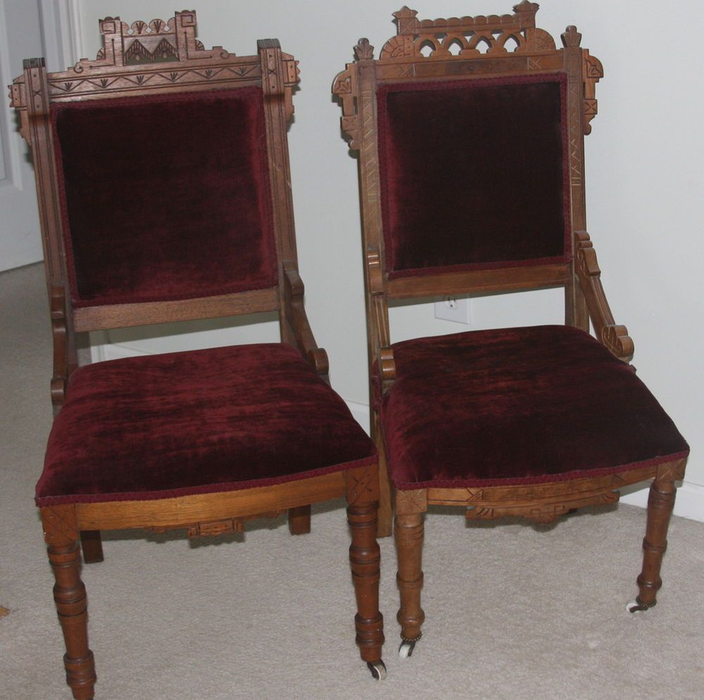 Two 1870 Antique Victorian Eastlake Walnut Parlor Chairs - Burgundy Velvet  Seats #EastlakeVictorian #Unknown - Two 1870 Antique Victorian Eastlake Walnut Parlor Chairs - Burgundy