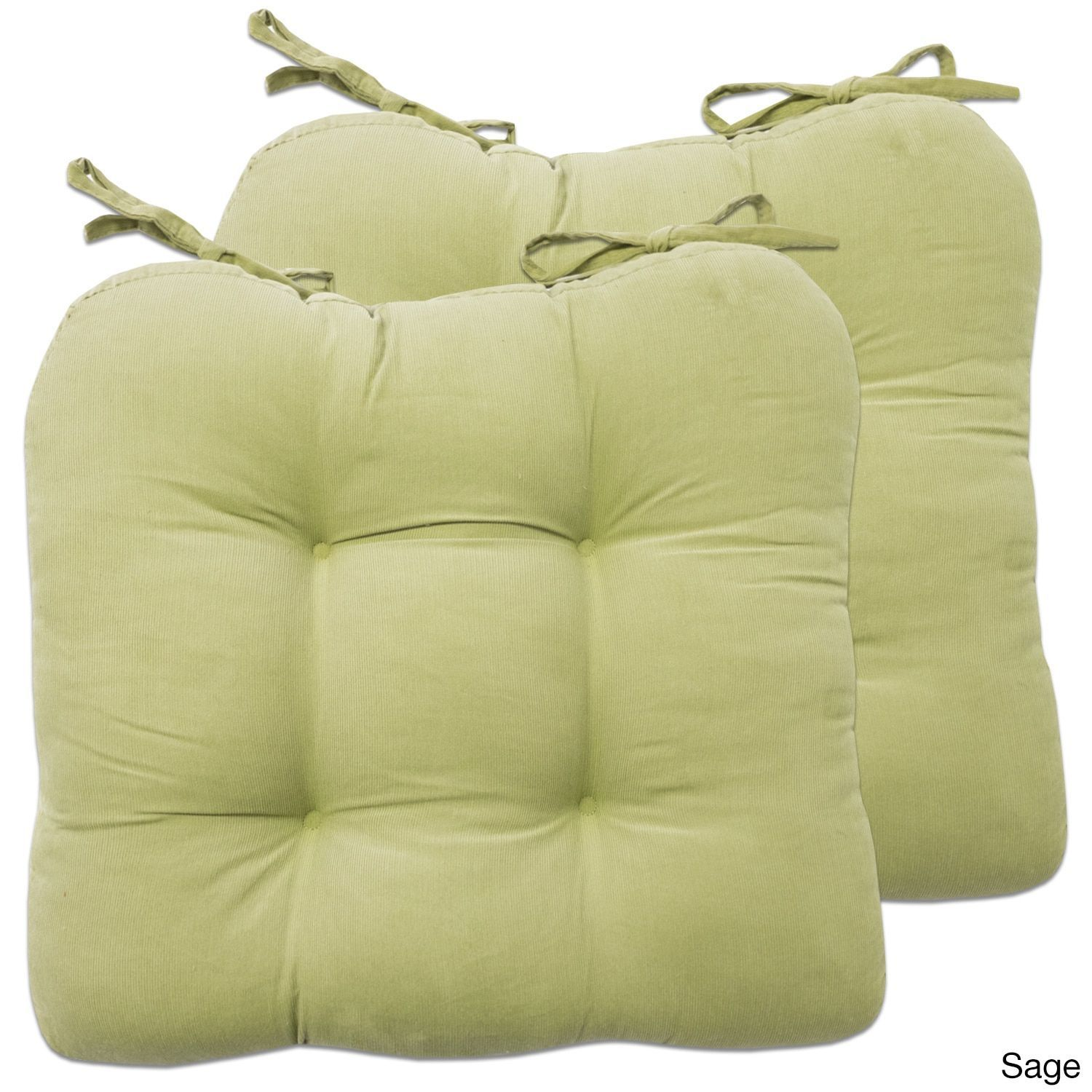 chair cushions with tie backs contemporary rocking chairs 2 piece corduroy pad tiebacks 16 x16 assorted colors set of sage green cotton solid