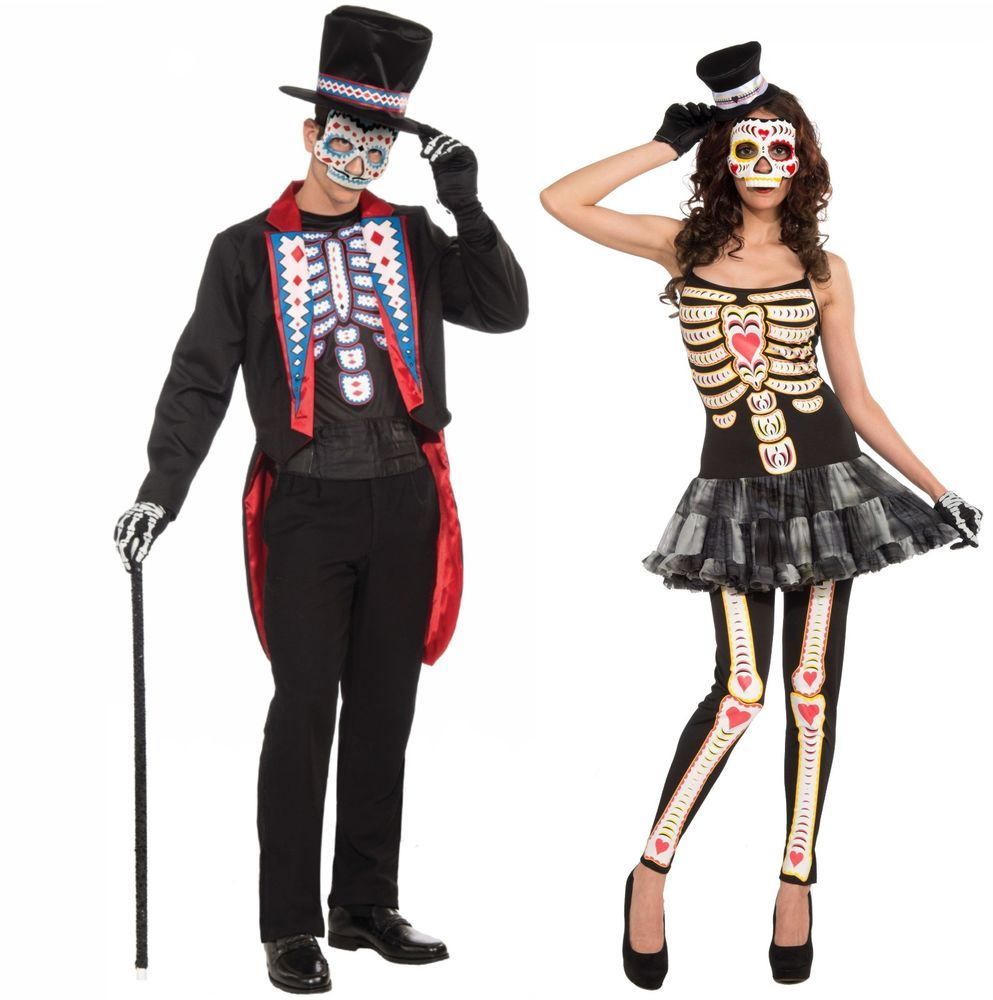 matching couples halloween fancy dress-one size-day of the dead