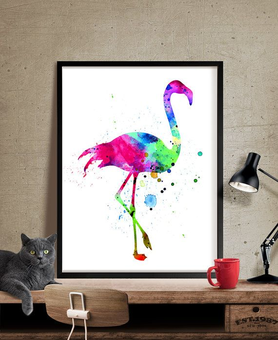 Art Flamand Aquarelle Aquarelle Art Flamingo Imprimer Sticker