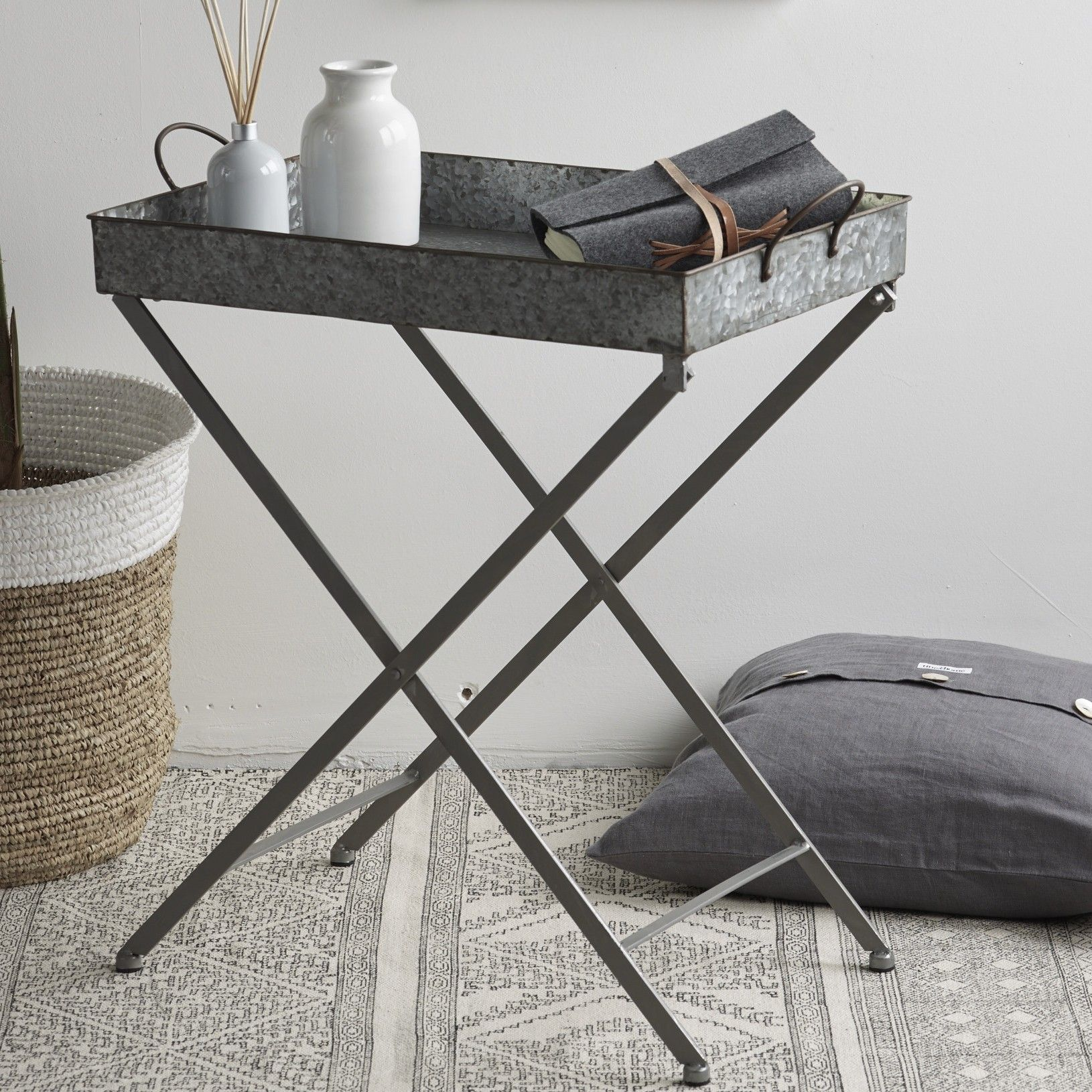 Zinc Finish Furniture Design Vintage Zinc Tray Table Industrial Outdoor Table For