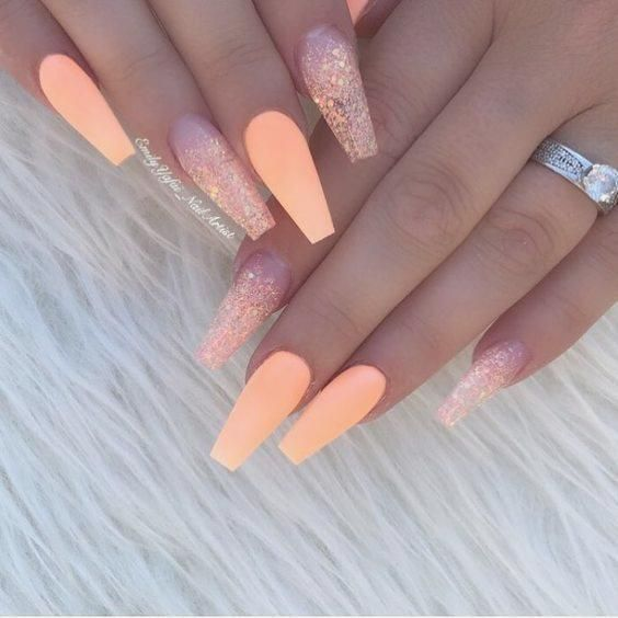 Photo of 30 artistic designs made of peach-colored acrylic #design #nails #nails …