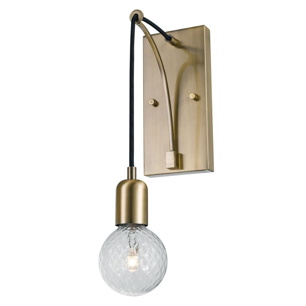 Globe Electric Krystallos 1 Light Antique Brass Wall Sconce Designer Bulb Included Vintage Wall Sconces Wall Sconces Sconces