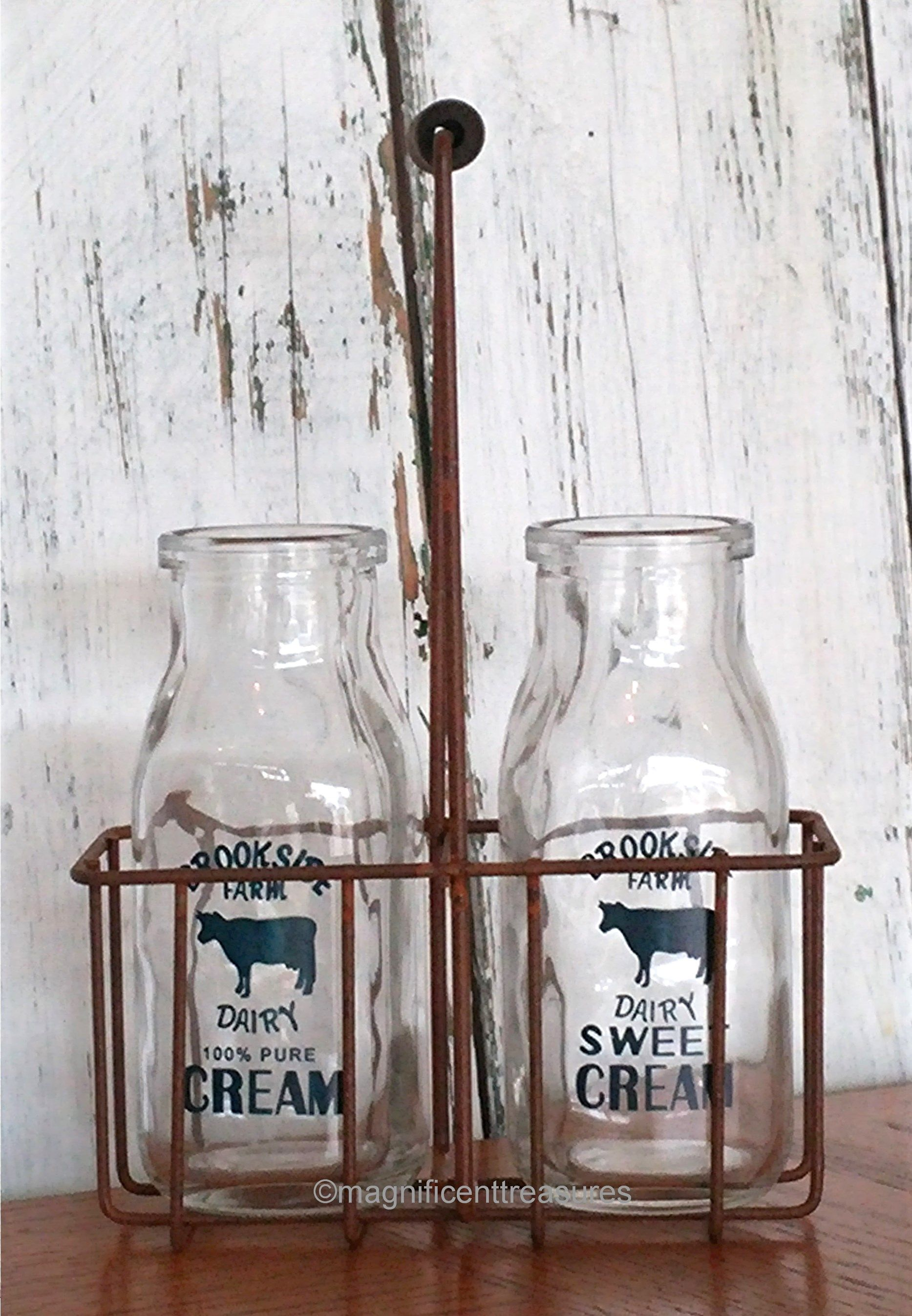 Cream Bottles and Rustic Wire Carrier Vintage milk