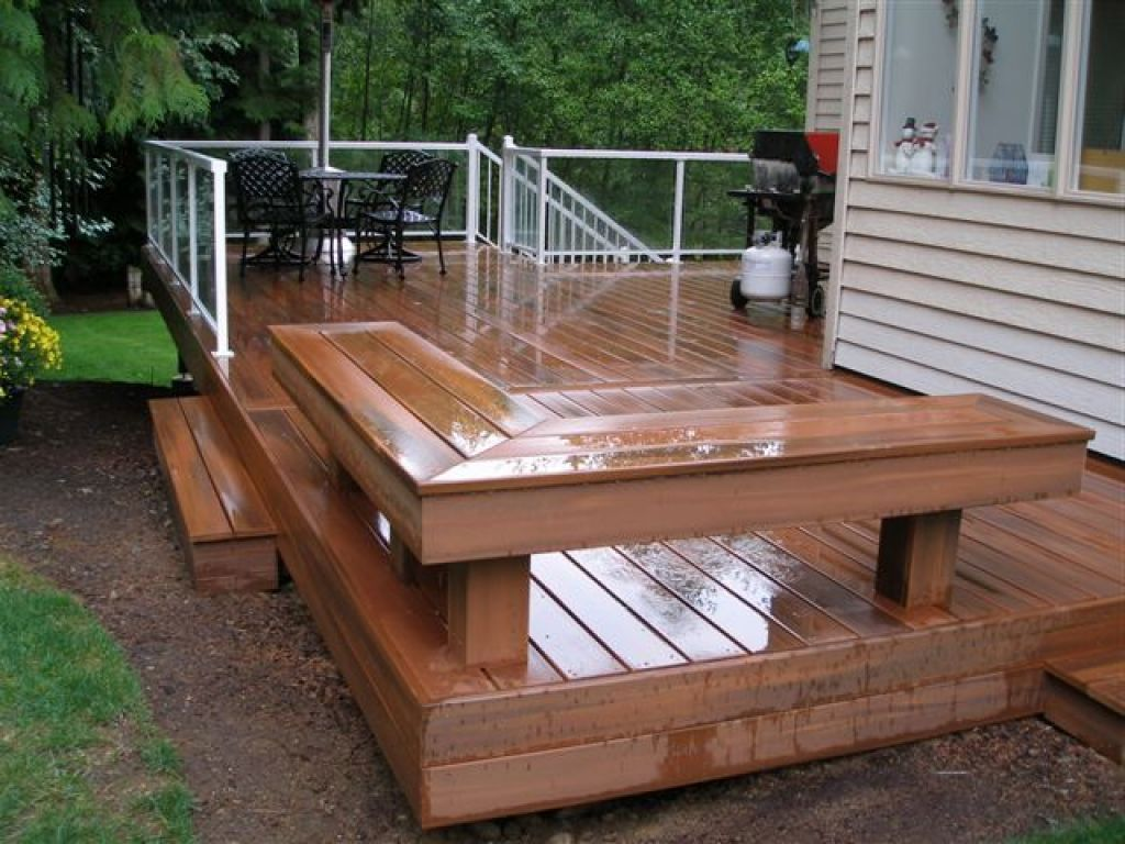Deck with built in bench outdoors pinterest decking for Outside decking material