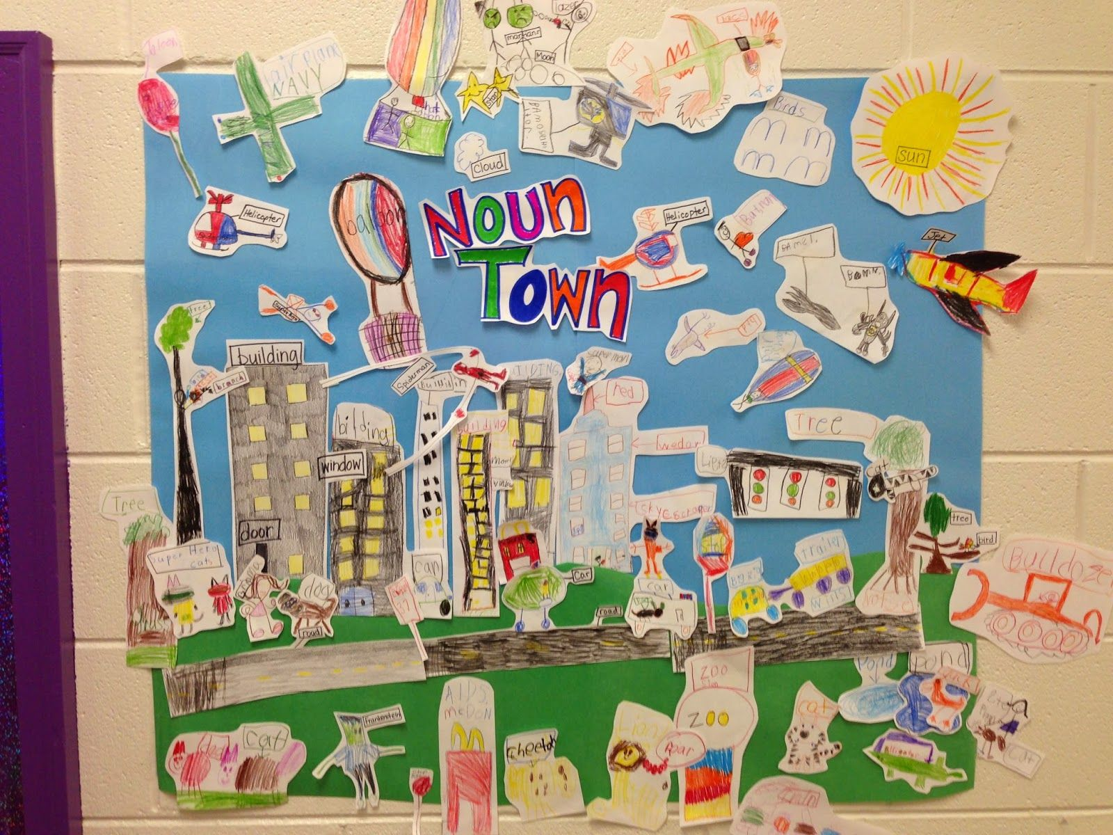 Noun Town- drawing and labeling nouns for a town mural ...