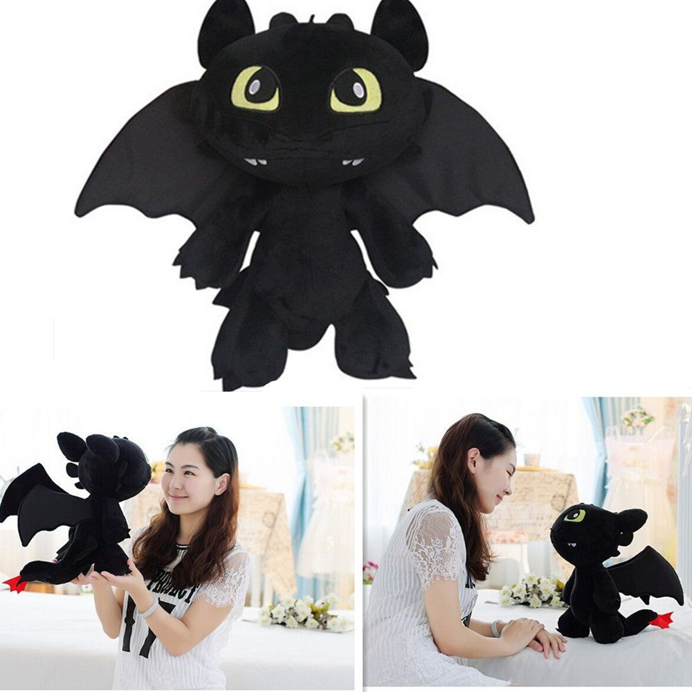 How to Train Your Dragon Toothless Night Fury Stuffed Animal Plush Toy Doll 12/'/'