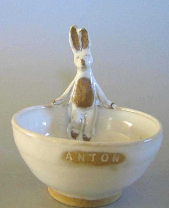 Custom Handmade -  Animals In My Soup  -bowls - Bunny, Chick, Doggie, Kitty, Frog, Monkey, etc - Name Text -  by MirandaGould at Etsy.