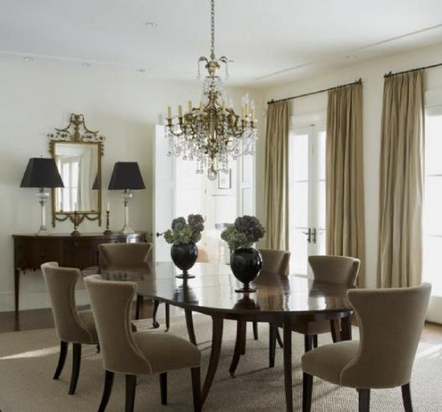 Long Neutral Curtains In A Dining Room...nothing More