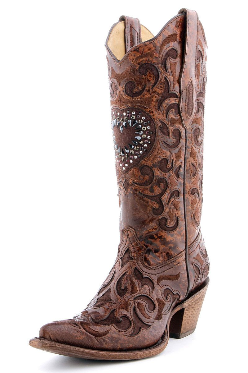 Corral Chocolate Cognac Crystal Heart Cowgirl Boots | Chocolate ...