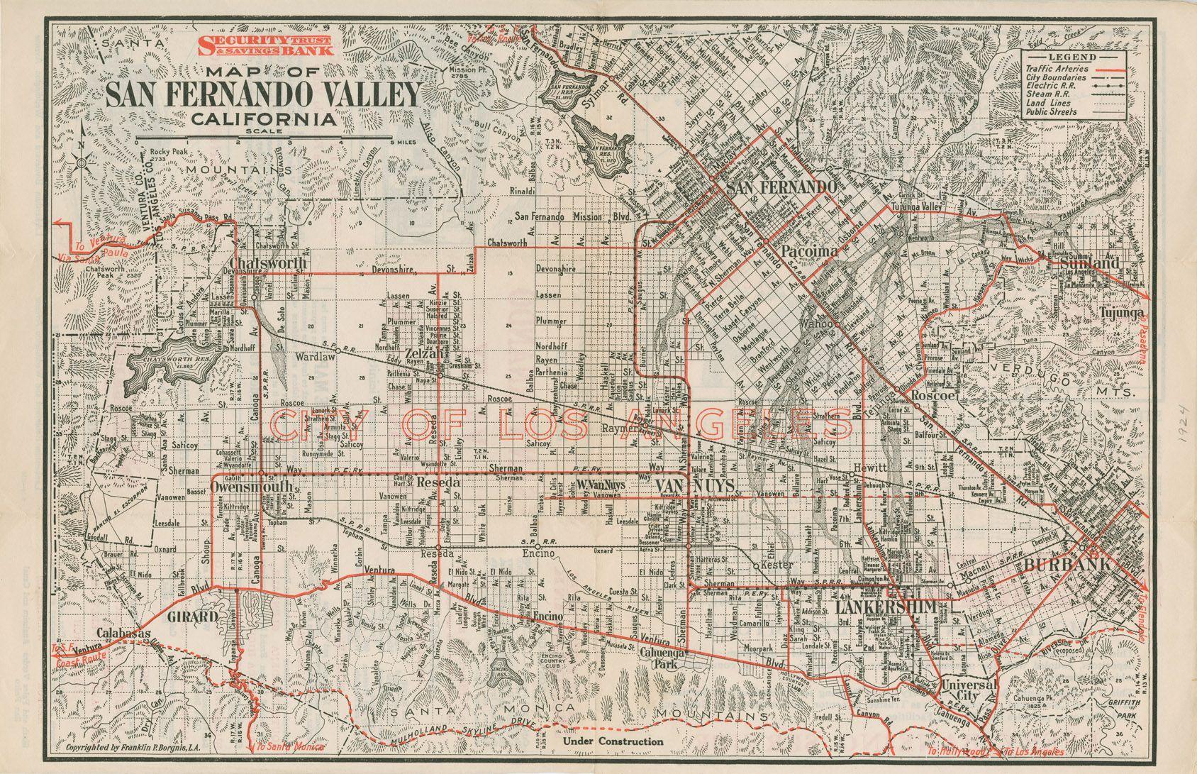 San Fernando Valley 1924 Los Angeles Map San Fernando Valley California History