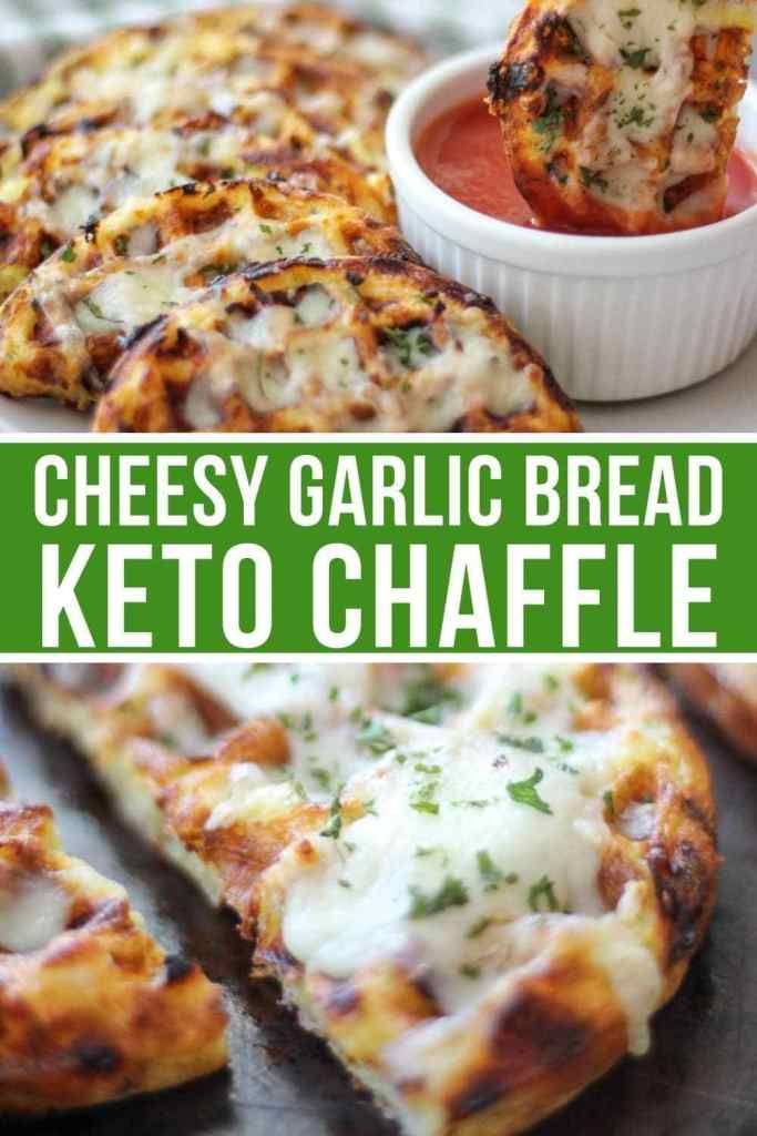 Cheesy Garlic Chaffle Bread Easy Keto Cheesy Garlic Chaffle Bread will satisfy your cravings for an Italian style bread that can be enjoyed as a side or appetizer. The mouthwatering cheesy garlic goodness on a delicious crunchy chaffle come together to make the best keto garlic chaffle bread you've ever put in your mouth./ keto recipes / keto diet foods / chaffles / chaffle recipe