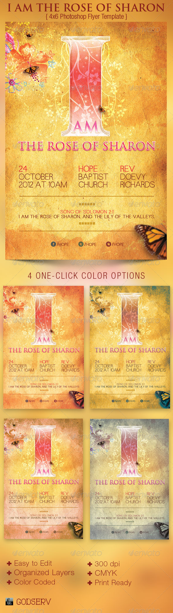 Rose of Sharon Church Flyer Poster Template | Sermon series, Flyer ...