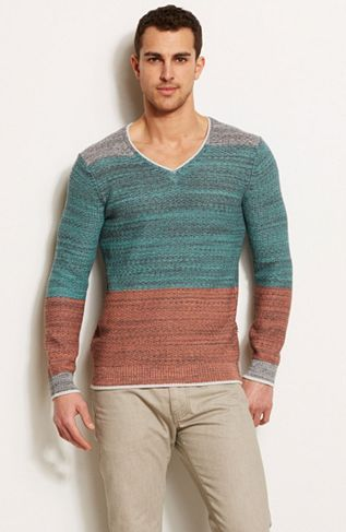 Ombre Blocked V-Neck Sweater - Sweaters - Mens - Armani Exchange