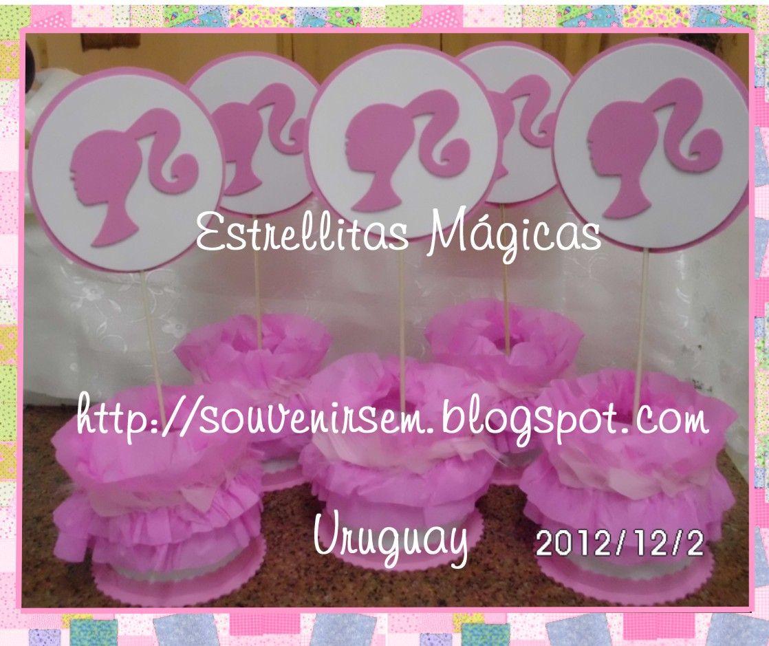 fiesta de barbie   Centros de mesa Barbie, de goma eva, decorado con delicadas plumitas