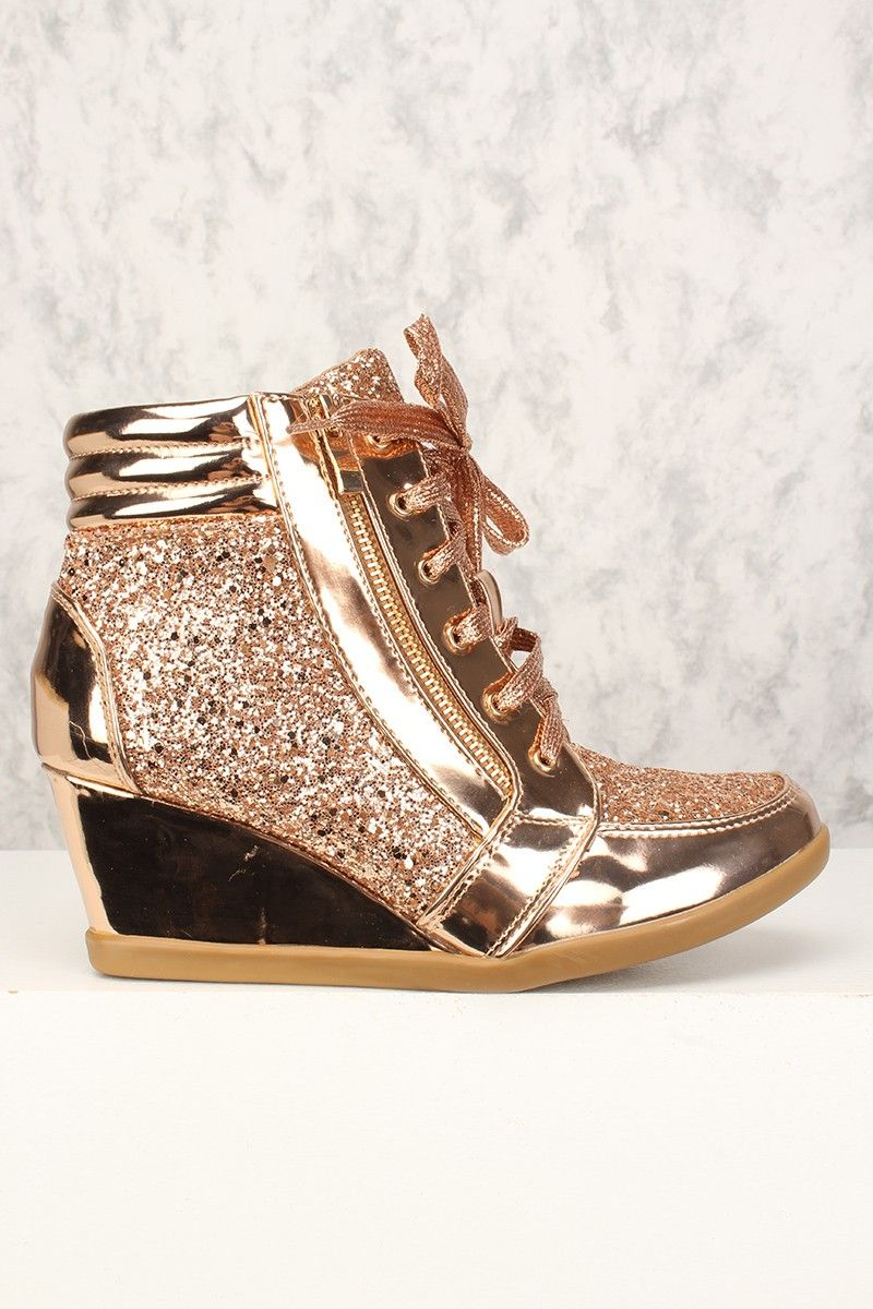 METALLIC WEDGED PLATFORMS WEDGES LACE UPS STRAPPY SANDALS HEELS SHOES SIZE 3-8