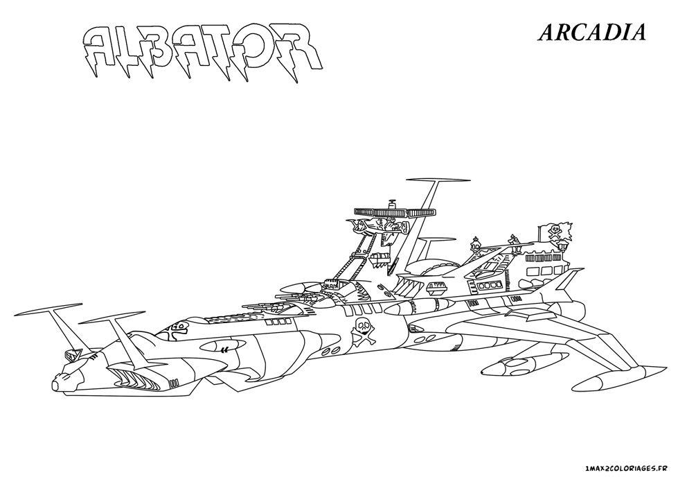 Coloriage vaisseau arcadia albator un max de coloriages - Dessin vaisseau spatial ...