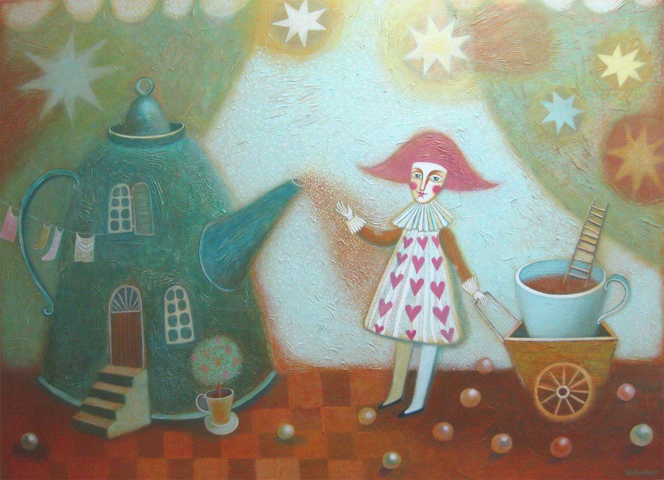 Вечер,звёзды,чай 110х150 холст-акрил2011