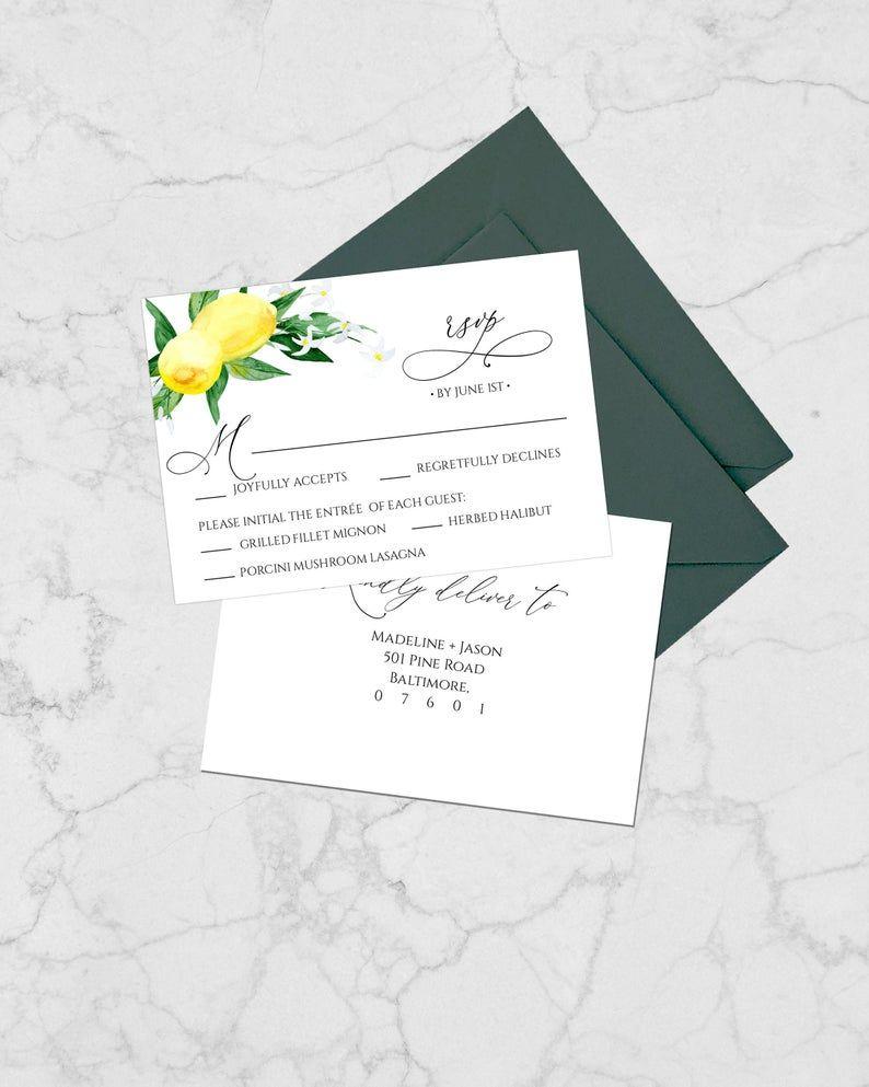 Lemon rsvp wedding cards printable wedding rsvp card