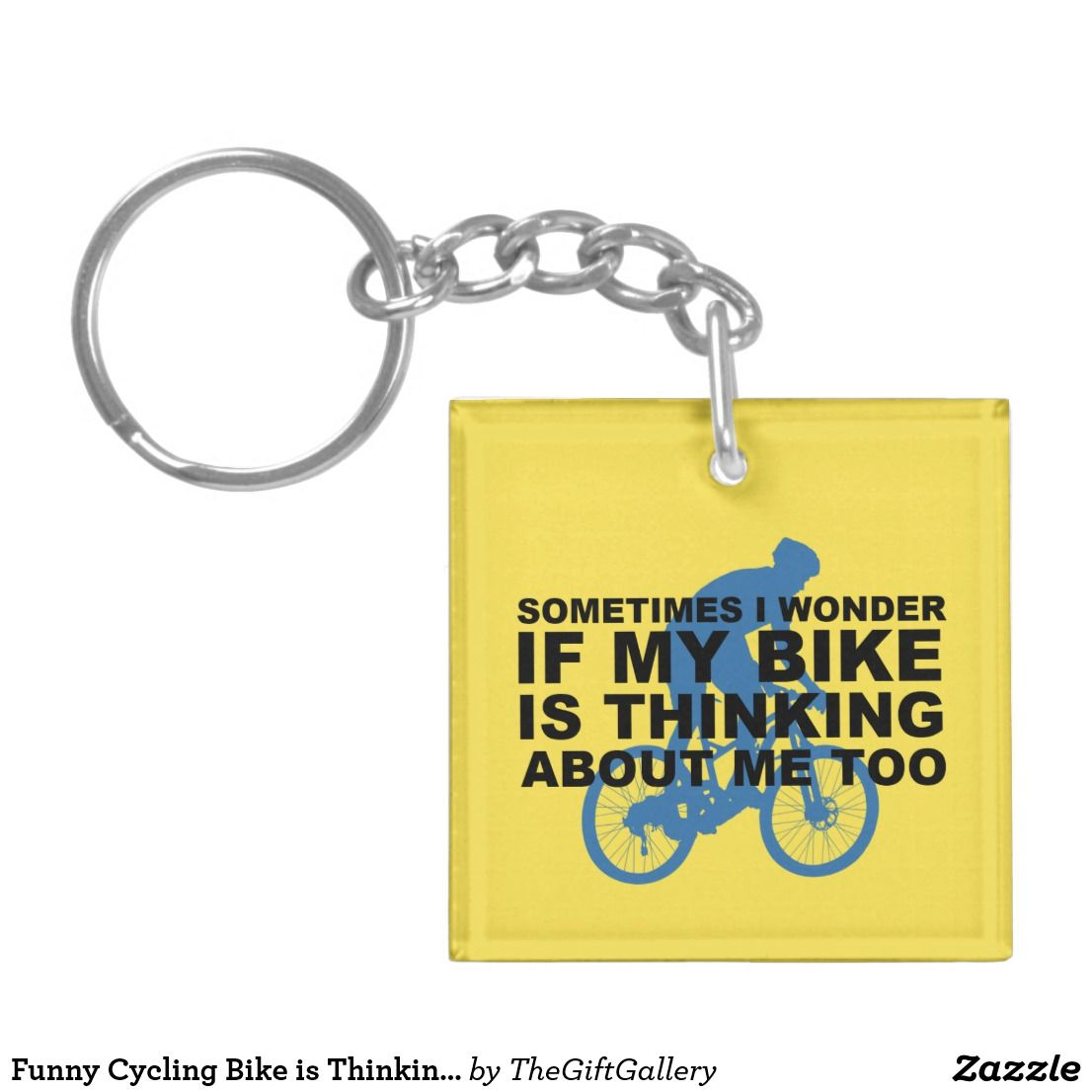 Funny Cycling Bike Is Thinking About Me Too Blue Keychain Zazzle