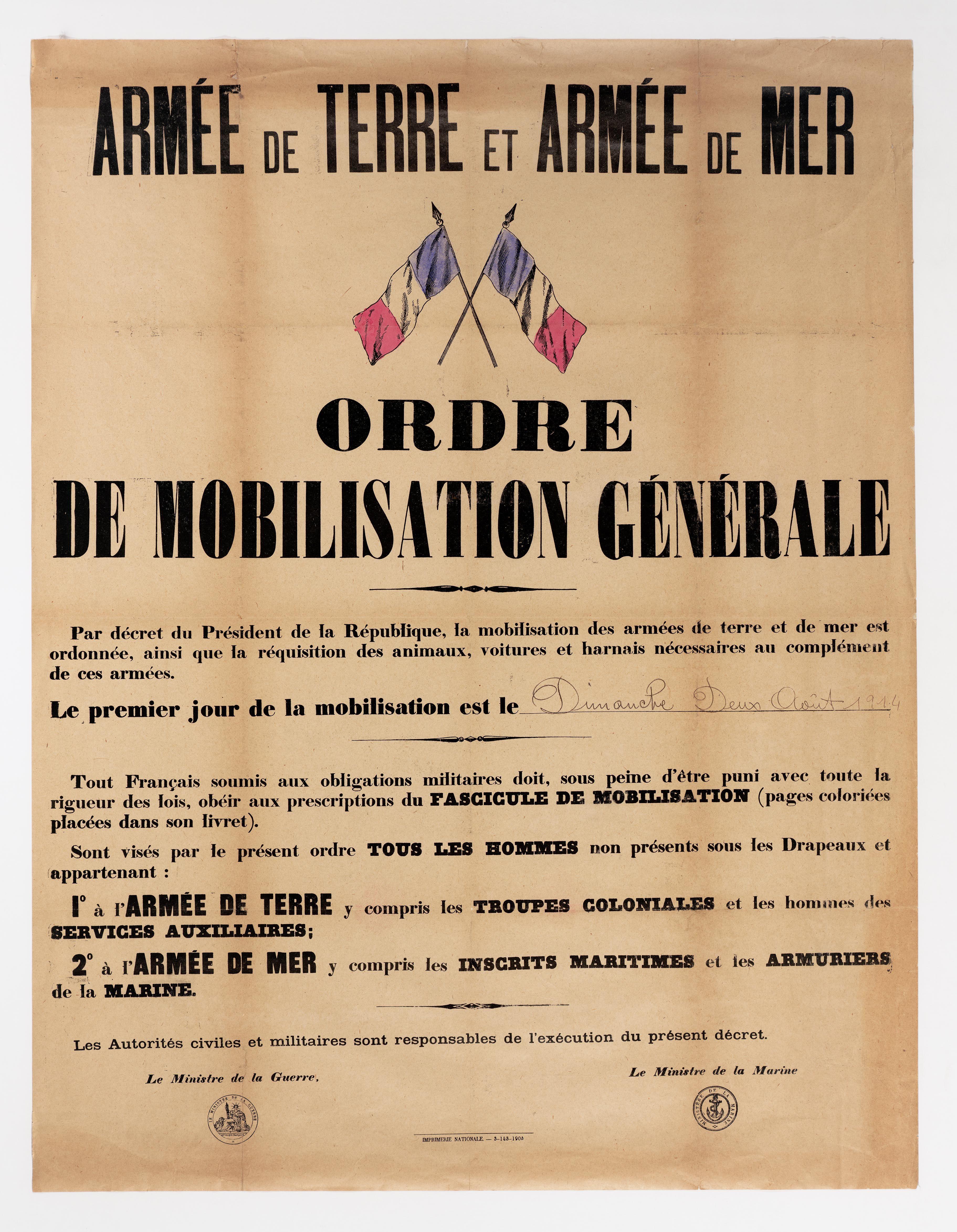 Affiche De L Ordre De Mobilisation Generale Le 2 Aout 1914 Archives Nationales Ae Ii 3598 C Archives Natio La Grande Guerre Armee De Mer Histoire Familiale