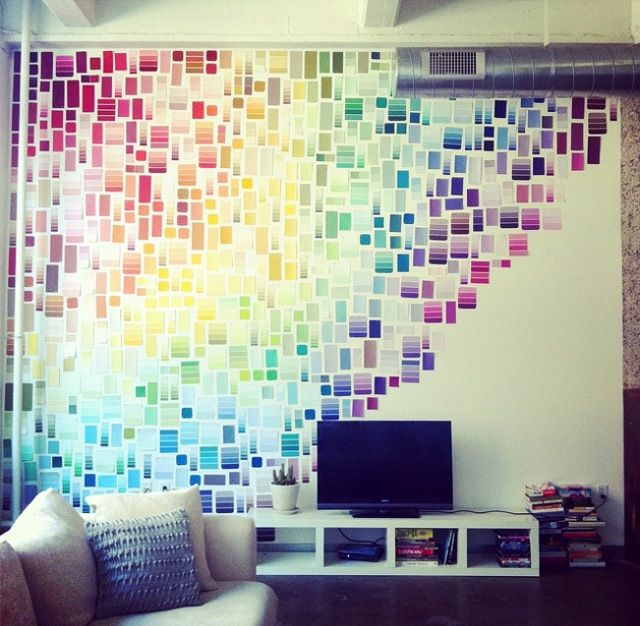 Love this idea - tape paint swatches to jazz up a plain dorm wall! Colorful (and free)!