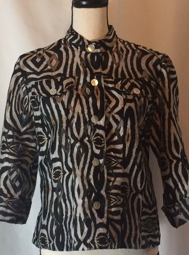87a2d1bf033896 Ruby Rd Favorites Leopard Size 8 Blouse Semi Sheer Lightweight Jacket  #RubyRdFavorites #Blouse #Casual