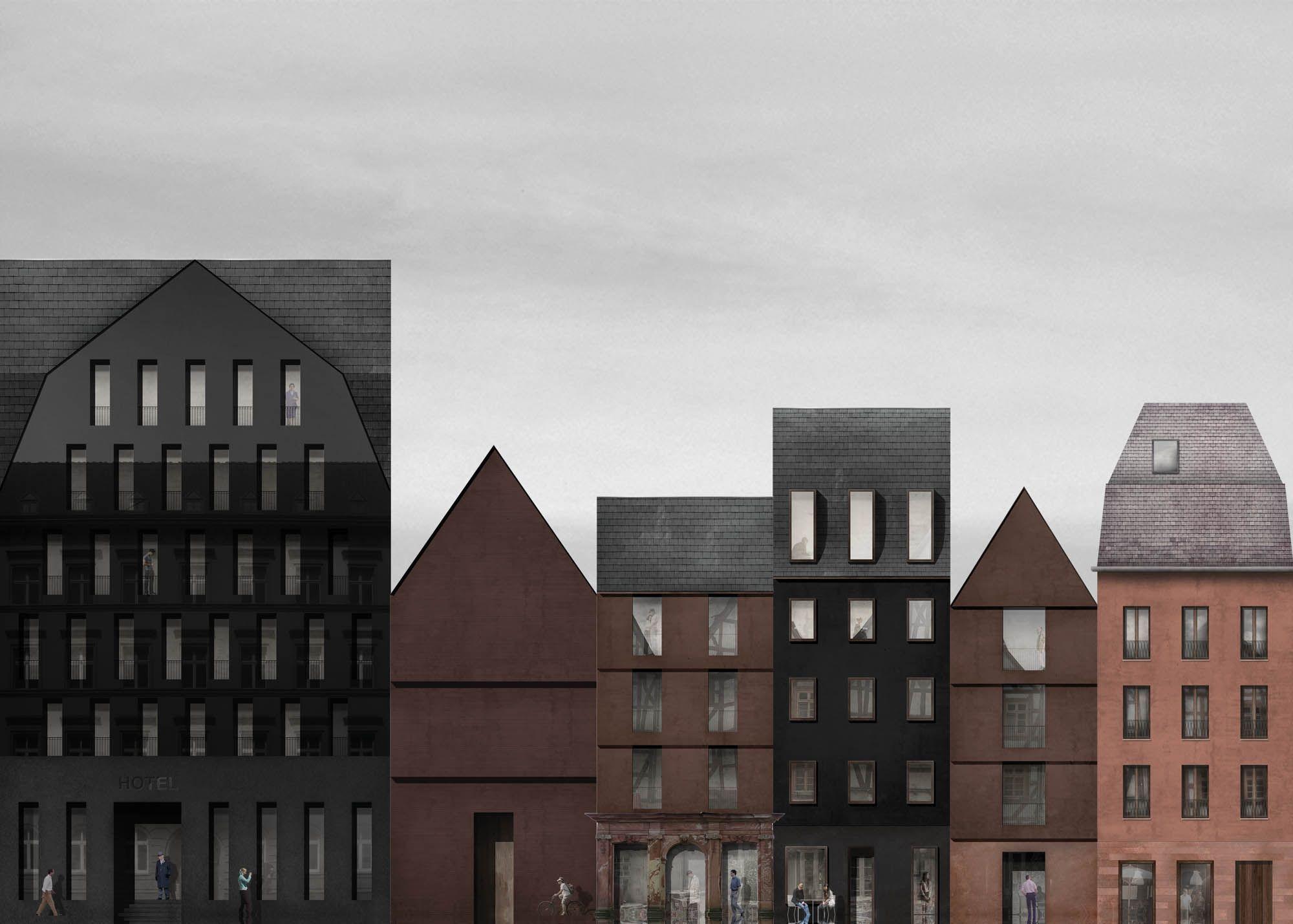Fassaden, Entwurf, Planer Ideen, Architektur Visualisierung, Reihenhaus,  Stadthaus, Grafiken, Altstadt, Skizzen