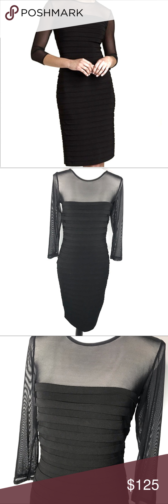 Tadashi Collection Black Bandage Dress W Sheer Top Bandage Dress Black Sheer Dress Bandage Dress [ 1740 x 580 Pixel ]