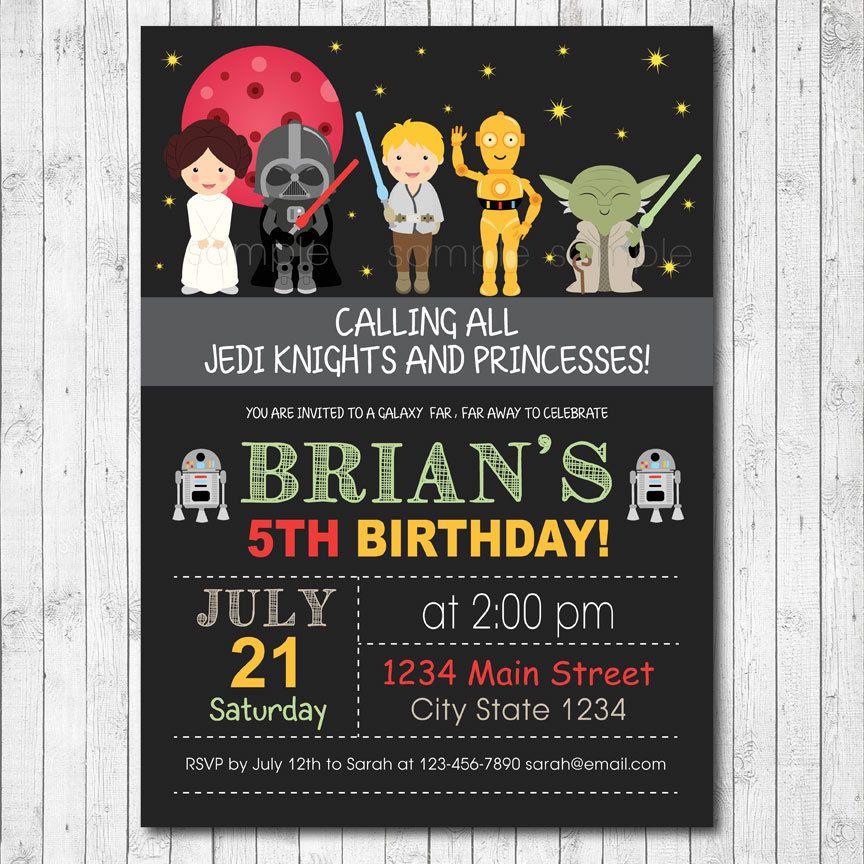 Star Wars Invitation, Star wars Invite, Star wars birthday, Star ...