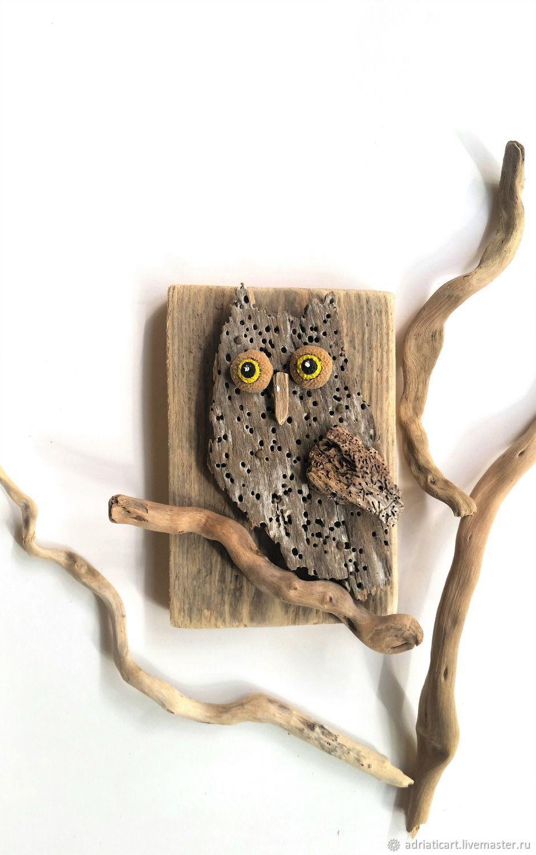 Ушастая сова дрифтвуд Сова на ветке Панно на стену 17 см ...