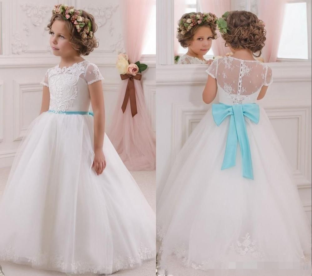 Click to buy 2017 lovely white flower girls dresses with click to buy 2017 lovely white flower girls dresses with turquoise bow izmirmasajfo Choice Image