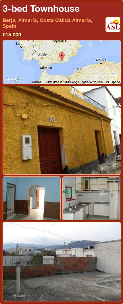 3-bed Townhouse in Berja, Almería, Costa Cálida Almería, Spain ►€15,000 #PropertyForSaleInSpain