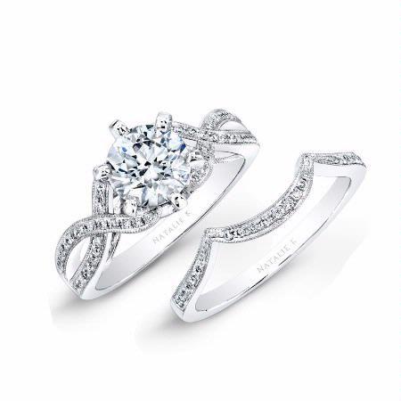 f442daa102cdc Natalie K Diamond 18k White Gold Engagement Ring Setting and Wedding ...