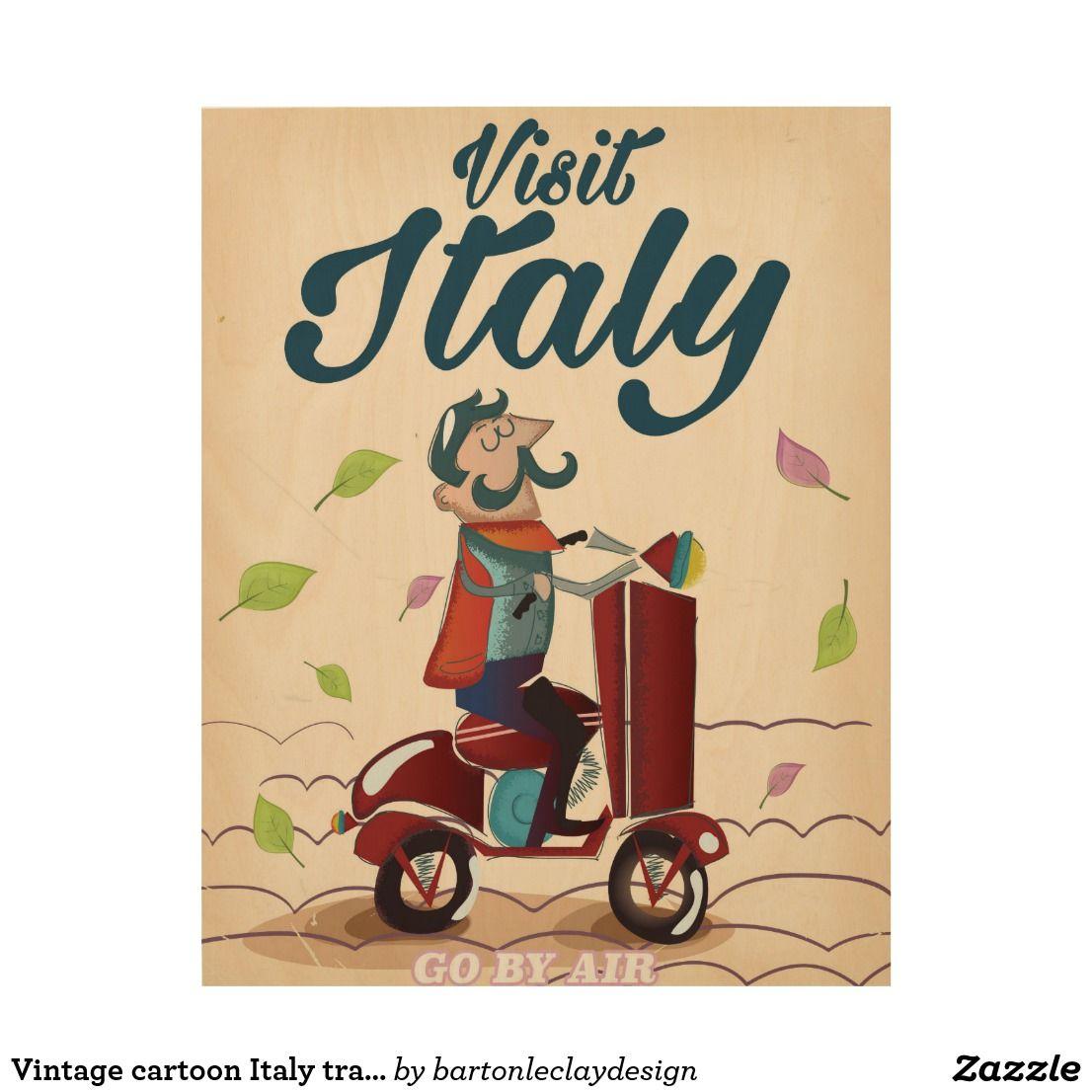 Vintage cartoon Italy travel post card. Wood Wall Art | Wood arts ...