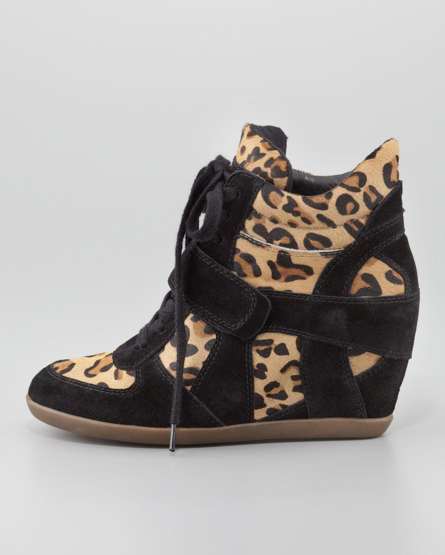 dbb5681c1a40 Ash Bonno Leopard-Print Calf Hair Wedge Sneaker