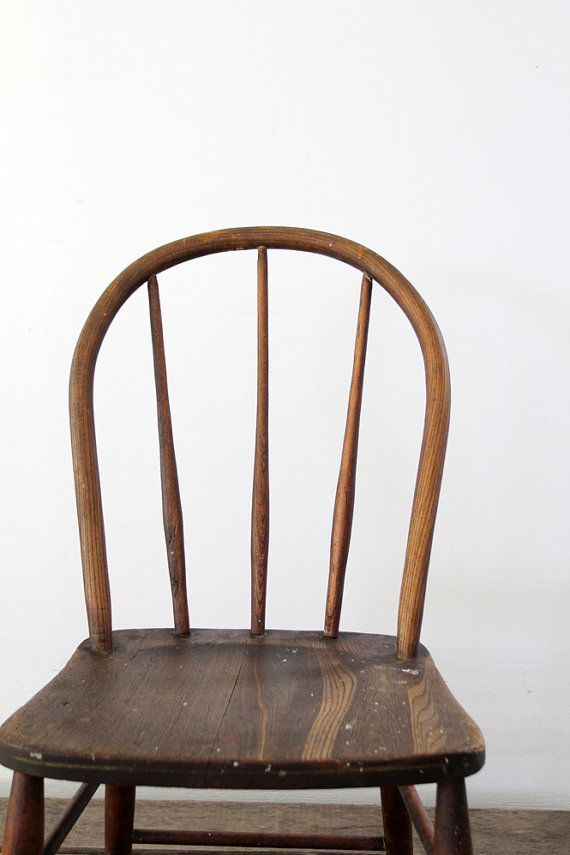 Vintage Spindle Back Chair 1930s Wood Chair By 86home On Etsy 128 00 Chair Wood Chair Aging Wood