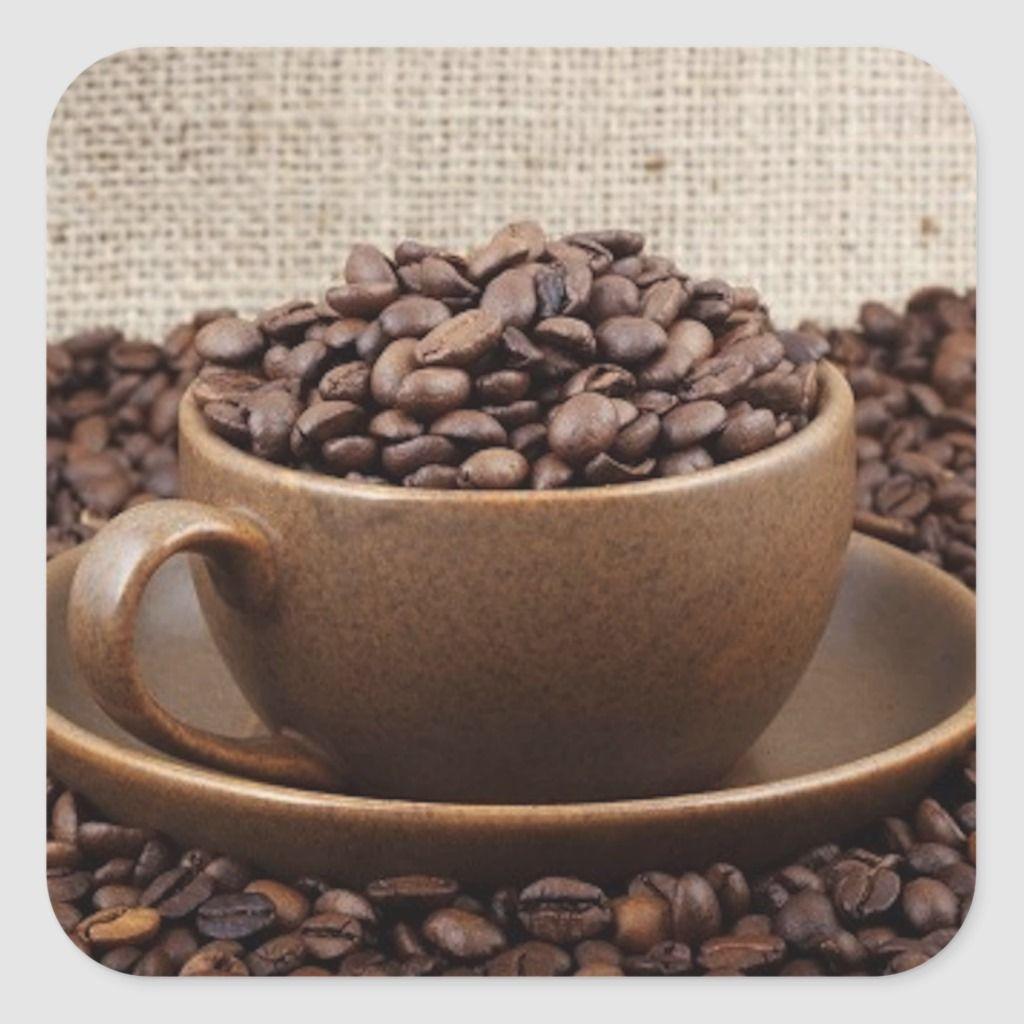 Amazing Coffee Square Sticker Zazzle Com In 2020 Coffee Bean Direct Coffee Beans Coffee Flavor