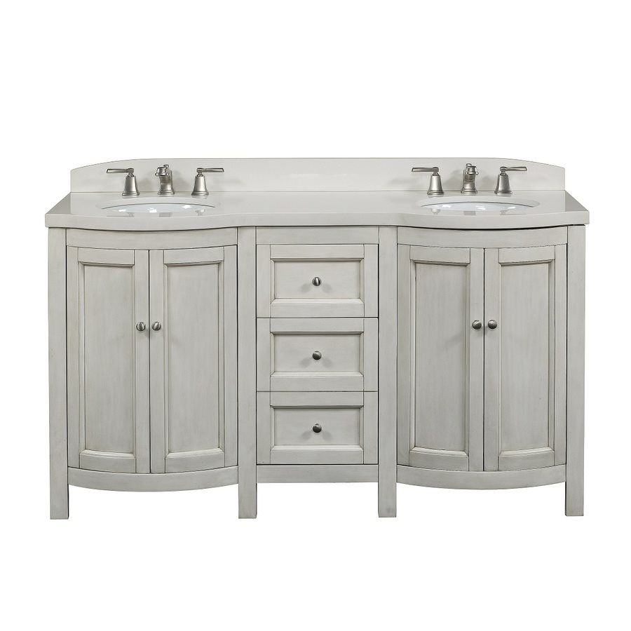 allen + roth Moravia Antique White Undermount Bathroom Vanity with  Engineered Stone Top 60-in x 20-in | Lowe's Canada - Allen + Roth Moravia Antique White Undermount Bathroom Vanity With