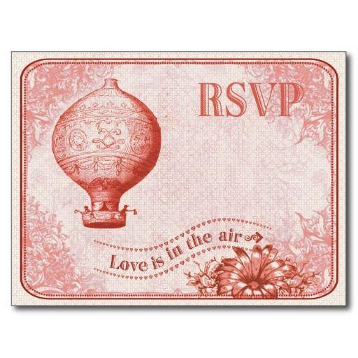 Vintage Hot Air Balloon Wedding RSVP C3 Postcard