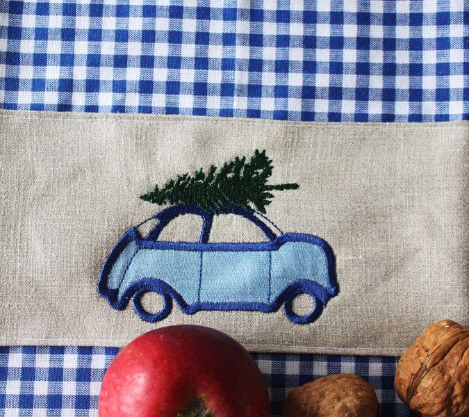 """Stickdatei  """"Tannenbaum auf dem Schlitten"""" 2 Date  von  """"FeinKram""""  hier gibt es die schönsten Scherenschnitt StickDateien ;-))) auf DaWanda.com"""