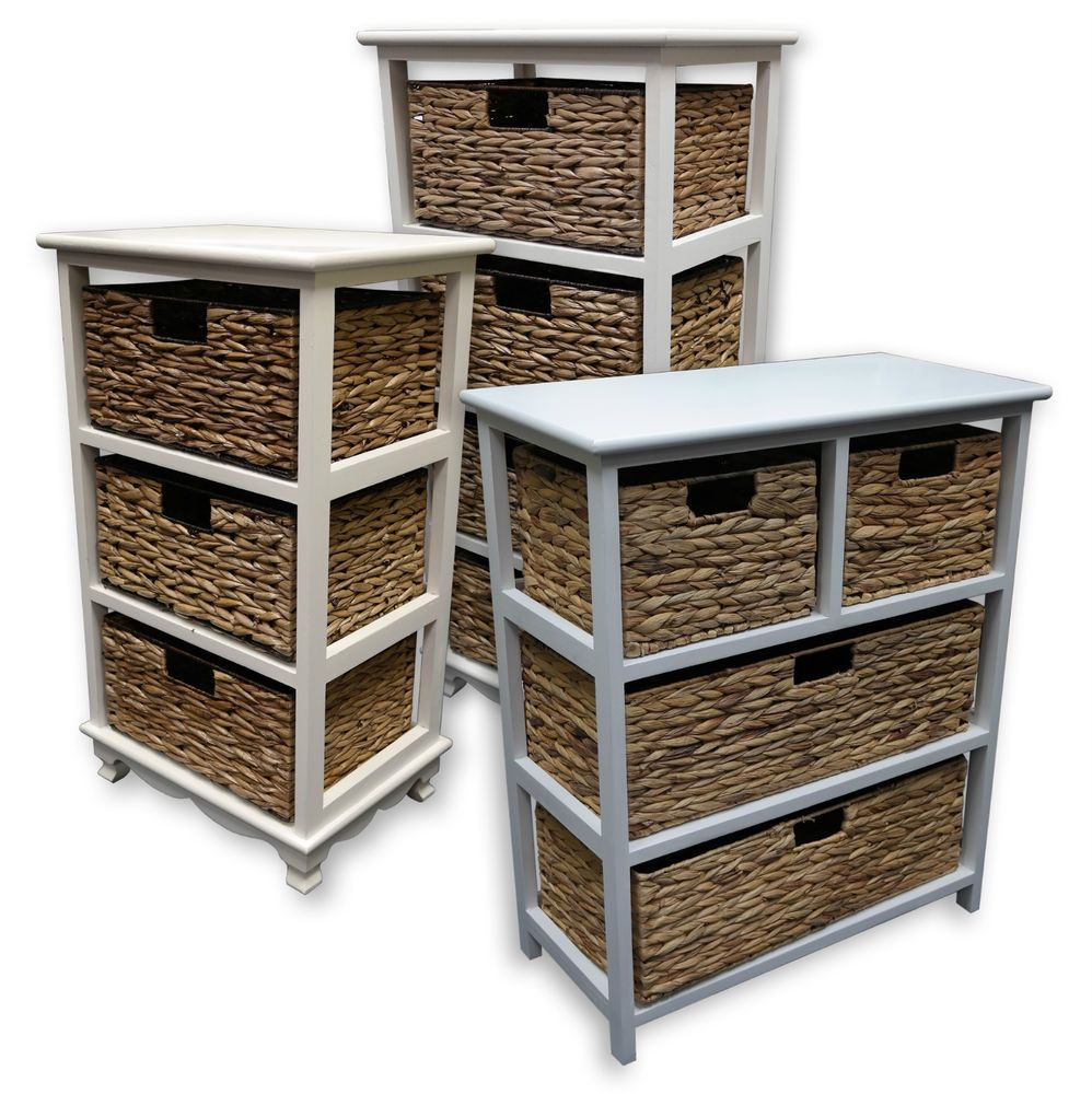 Details About White 3 Piece Storage Drawers Twin Bed Box: 3 4 6 Drawer Wicker Chest With White Wooden Frame
