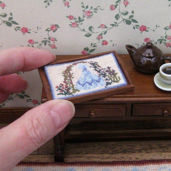 1:12 needlepoint tray cloth kit miniature dollhouse decoration. Petit point Crinoline Lady dollhouse accessories 32 silk gauze 1.9 x 1.4 ins #dollhouseaccessories