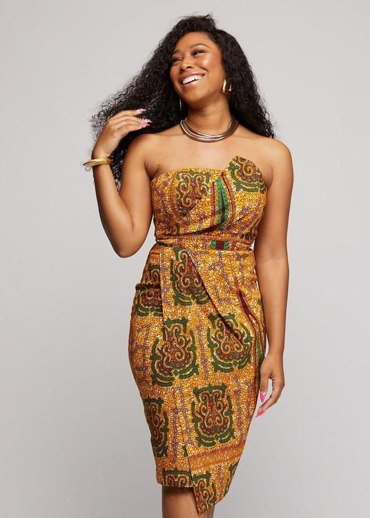 Azmera Women's African Print Knee Length Fold Over Dress (Green Tortoise Back) #africanstyleclothing