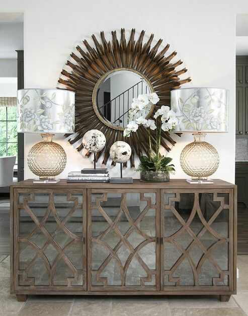 The Lamps Mirror And Accessories Complement This Buffet A Great Mix Of Traditional And Contemporary Transition Design By Loft Decor Home Decor Foyer Decor