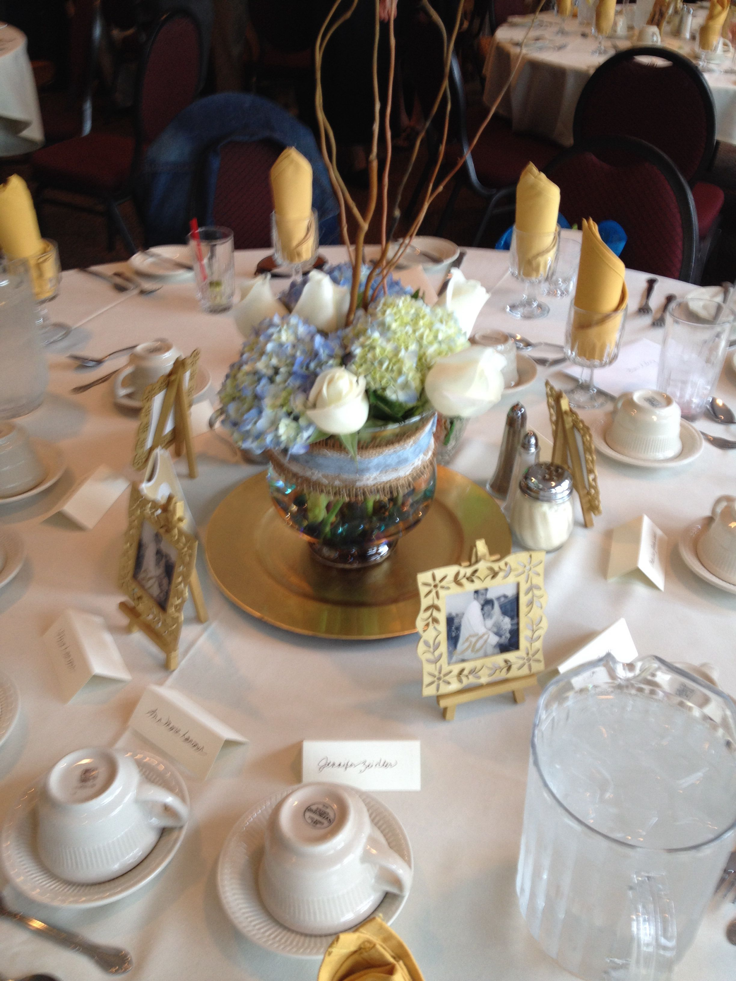 50 th anniversary arrangements and favors 50th wedding