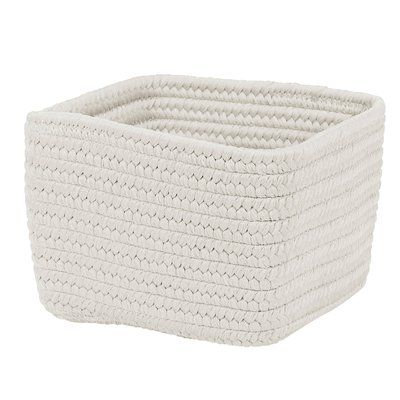 Winston Porter Braided Craft Fabric Basket Size 10 X 10 X 6 Colour Powder White Basket Cube Storage Storage Baskets