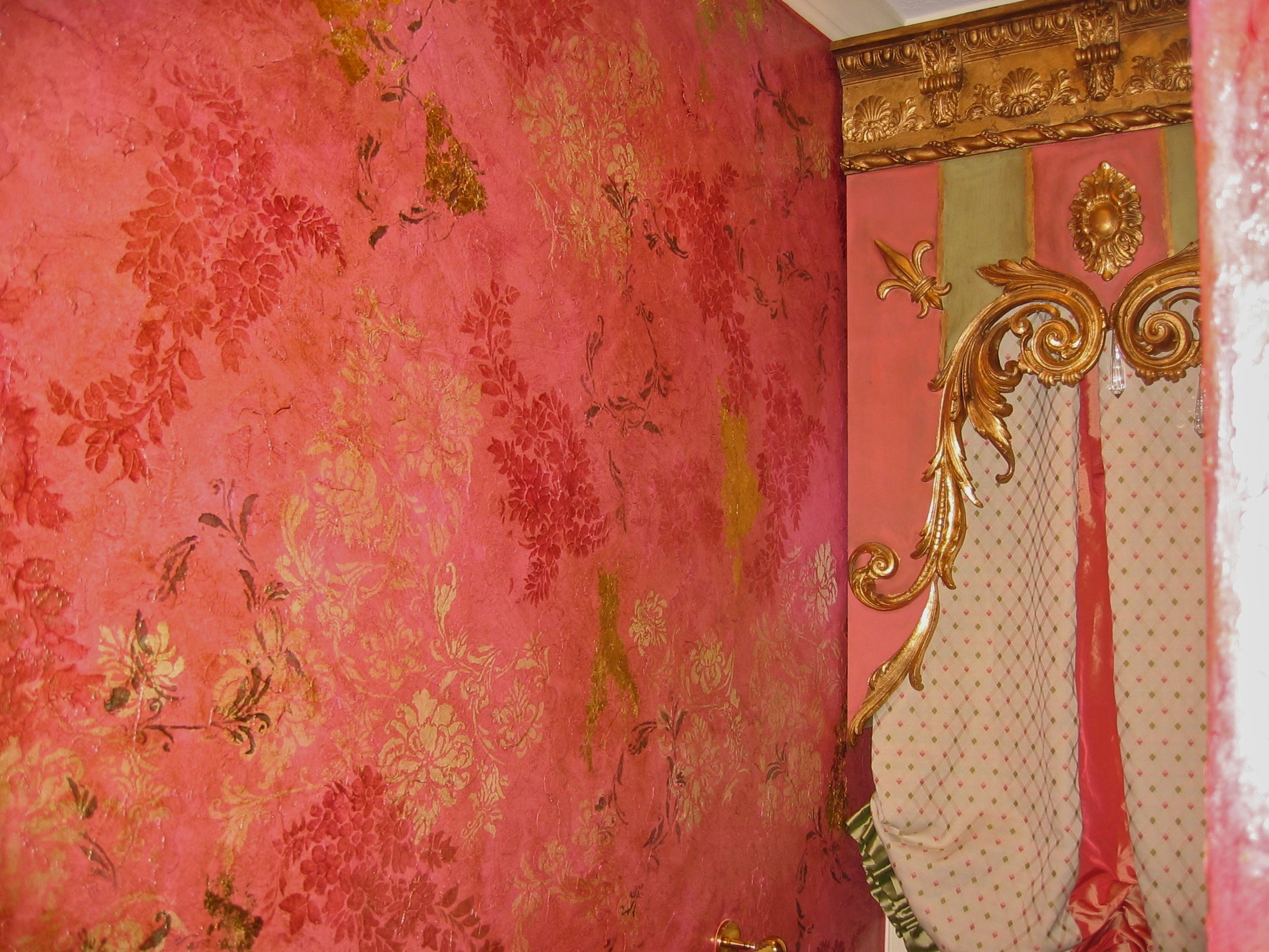Pink Plaster With Stencils And Gold Leaf Work By Tiffany